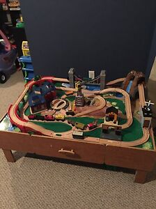 Imaginarium train table with wooden trains- some Thomas