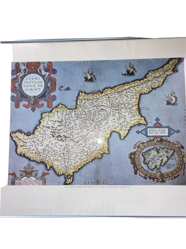 """vintage framed With Glass map of Cyprus 19x13 1/2"""" Copper Plate 1573"""
