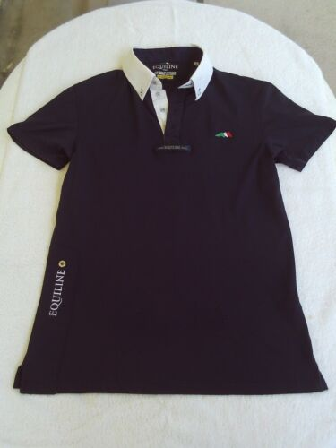Mens Equiline Equestrian Polo Medium Show Shirt Navy White Tie Loop Contemporary
