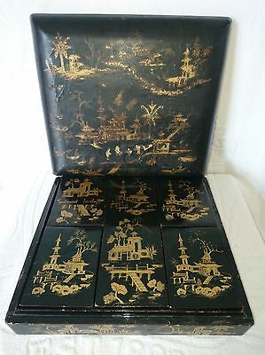 Antique C1820-45 Chinese Lacquered Game Box