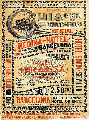 TRAVEL TOURISM ANTIQUE SPANISH RAIL TIMETABLE STEAM ENGINE SPAIN PRINT LV4265 ()