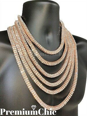- 14k Rose Gold Tennis Chain 2 ROW Lab Diamond Iced Out Silver Hip Hop Necklace