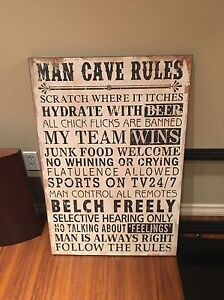 New man cave wood painting