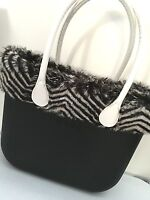 Borsa O Bag Grande Nera+manici Lunghi Bianchi+eco Pelliccia Lapin - bianchi - ebay.it
