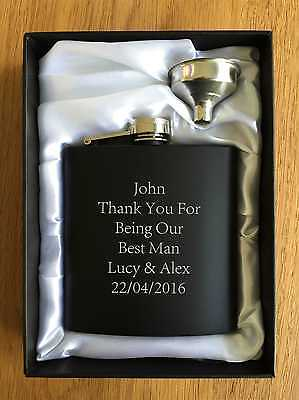 Personalised Gifts For Him Mens Best Man Usher Wedding Thank you Hip Flask Gift - Gifts For Wedding Ushers