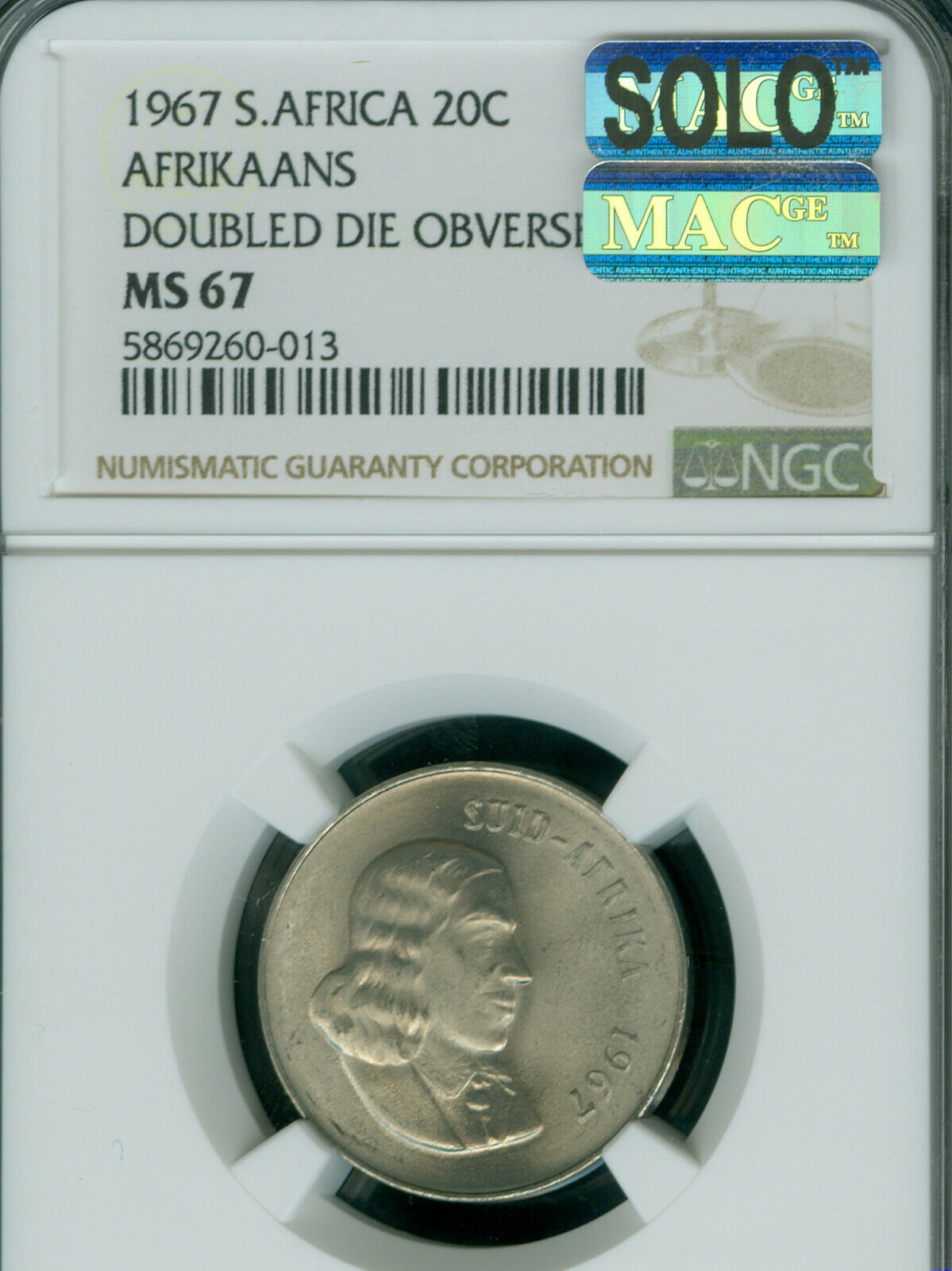 1967 DDO SOUTH AFRICA AFRIKAANS 20 CENTS NGC MS67 MAC SOLO FINEST 2 COINS KNOWN  - $4,495.00