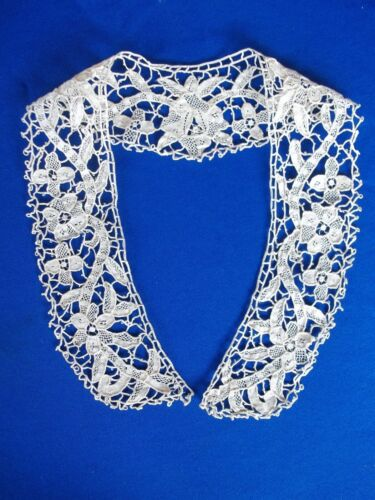 Antique Guipure Lace Brussels Lace Collar Handmade Bobbin Lace