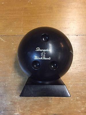 Vintage Brunswick Black Beauty Bowling Ball Bank Autographs
