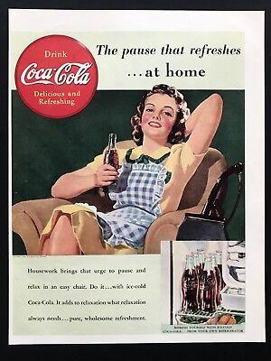 1939 Vintage Print Ad 30's COCA COLA woman illustration art coke smile image