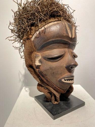 African PENDE  Mask WOOD/PLANT FIBER, PENDE TRIBE BELGIAN. CONGO