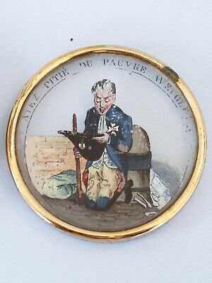 Circa 1825-1830 Reverse Painted on Glass Snuff Box Charles X France