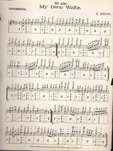 MY OWN WALTZ  #4516 HENRY SILBERHORN Concertina sheet music