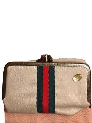 Vintage Sew Clutch Gucci Stripe Sewing Kit Travel Coin Purse Compact Manicure