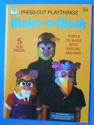 Make-a-Mask PRESS OUT PLAYTHINGS VINTAGE BOOK 1981 Halloween 5 masks