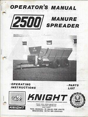 Knight 2500 Manure Spreader Tractor Operators Manual Parts List