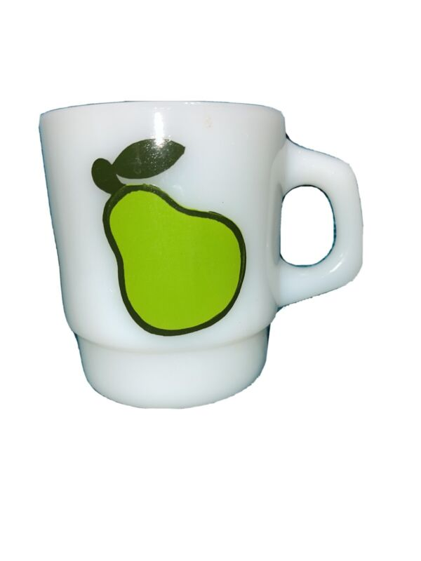 Vintage Anchor Hocking Fire King Glass Mug Green Pear Fruit Stacking Milk Glass