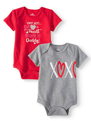 Sorry Boys But My Heart Belongs To Daddy Baby Girls 2 Pack Bodysuits 3-6 (Sorry Boys My Heart Belongs To Daddy)