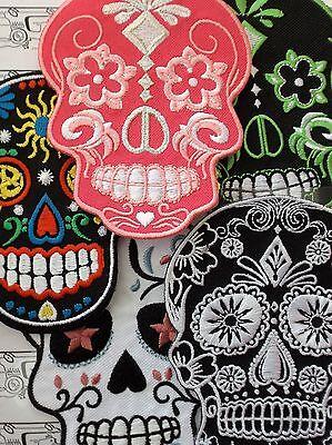 Gothic Sugar Skull Black Aufnäher Aufbügler Applikation Motiv Patch Sticker