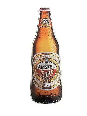 "Vintage""Amstel Light""Advertising Beer Bottle Embossed metal Tin Sign 301/4"" 81/4"