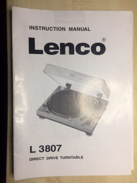 Bedienungsanleitung Lenco L 3807 Plattenspieler