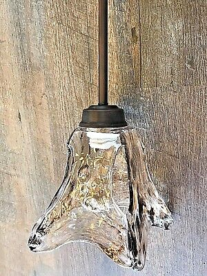 1 light mini pendant rubbed bronze with amber hand blown glass bar island light*