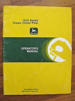 John Deere 1610 Drawn Chisel Plow Operators Manual