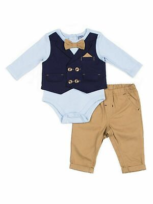 Little Lad Baby Boy Mock Vest Bodysuit & Twill Pants, 2pc Outfit -