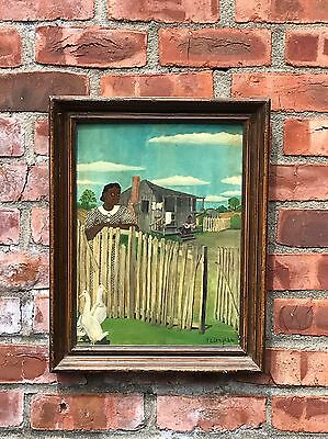 Painting Picket Fence - Original Black Americana Folk Art Naive Painting. Woman Dreaming On Picket Fence