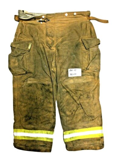 46x30 Securitex Brown Firefighter Turn Out Pants w/ Yellow Tape No Liner PNL-31