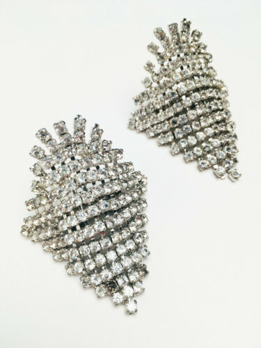 Rare Authentic Vintage Art Deco Rhinestone and Silver Shoe Clips Set Unsigned