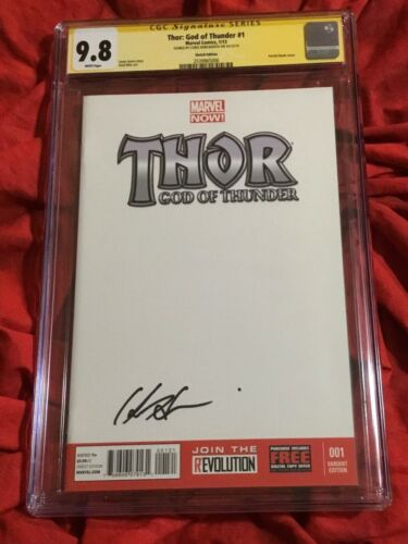 THOR GOD OF THUNDER #1~BLANK VARIANT~SIGNED BY CHRIS HEMSWORTH~AVENGERS ENDGAME