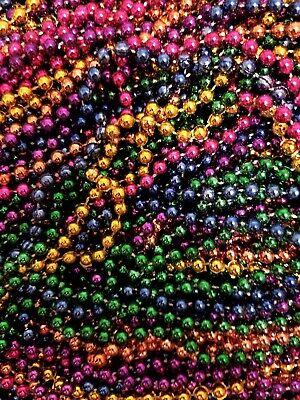 240 Mardi Gras Beads Necklaces Bulk Lot Multi Color Metallic Party Favors FREE S Metallic Mardi Gras Beads