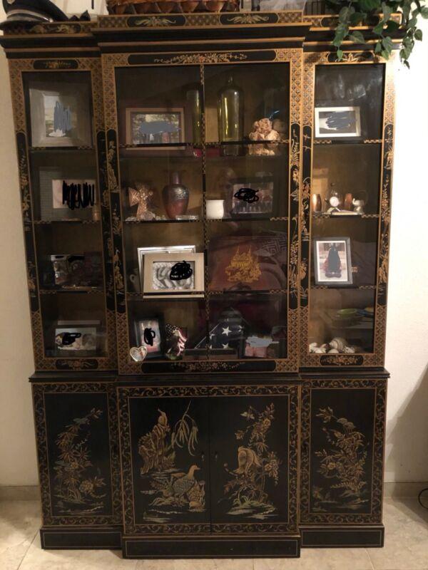 oriental black ornate china cabinet