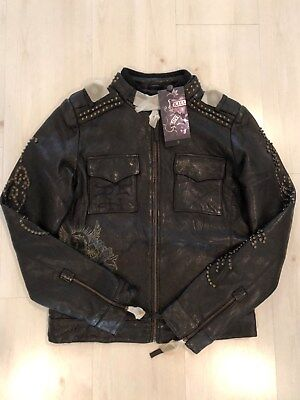 WOMEN RARE ED HARDY LEATHER JACKET LOVE KILLS SLOWLY BLACK M,L,2XL
