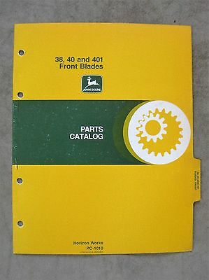 John Deere 38 40 401 Front Blade Parts Catalog Manual Lawn Tractor