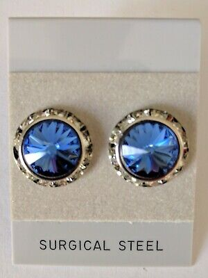 5b75a9cf5 SAPPHIRE PIERCED EARRINGS go with horse show number magnets Swarovski  Crystals