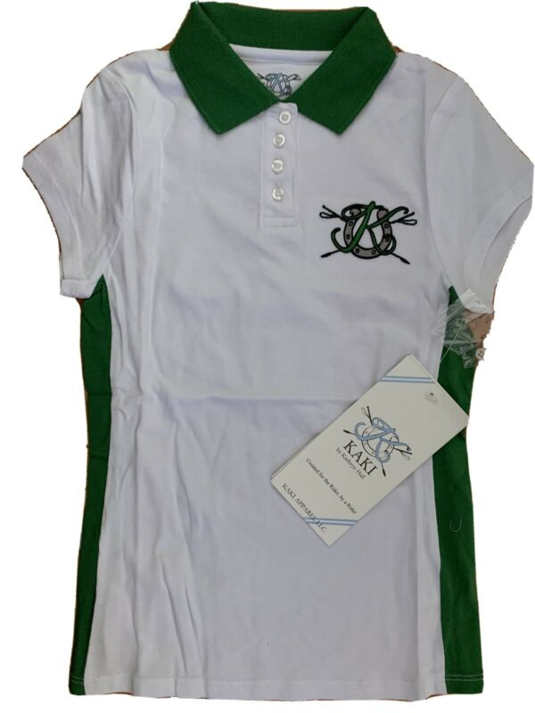 Kaki By Kathryn Hall Signature Polo Girl Size 8 Nwt Fitted White Green