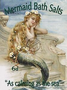 VINTAGE STYLE METAL WALL DOOR SIGN SHABBY CHIC BATHROOM PICTURE OF MERMAID GIFT