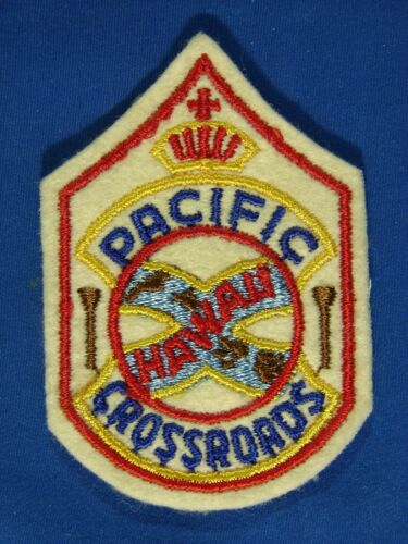 """Vintage Embroidered Patch; """"Hawaii – Pacific Crossroads"""""""