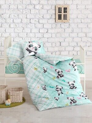 100% Cotton Panda Nursery Bedding Baby Duvet Cover Set Toddlers Crib Bedding
