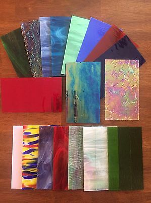 "Stained Glass Sheet Variety Pack of 10- 7"" X 4"" Pieces of Premium Glass!!!"