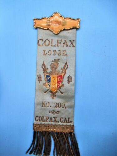 19th Century Knights Of Pythias Badge/Ribbon Colfax Lodge No.200 Colfax Cal.