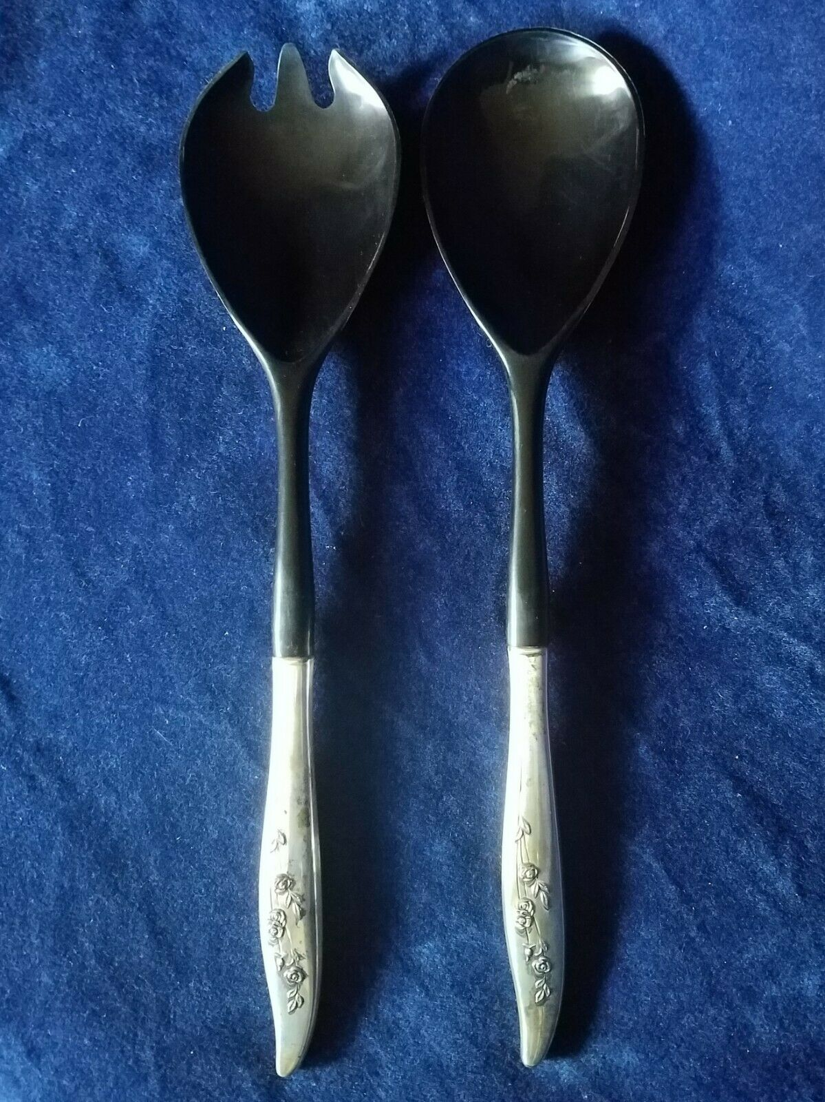 YOUNG LOVE 11 1/4 HOLLOW HANDLE SALAD SERVING SET By Oneida Sterling - Estate - $71.50