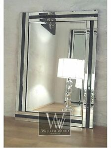 black glass framed rectangle bevelled wall mirror 36