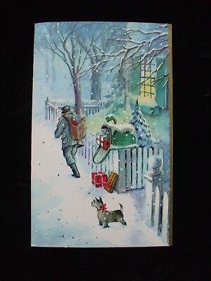 Vintage Christmas Greeting Card Mailman Delivers Gifts n Snow Terrier Dog Unused ()