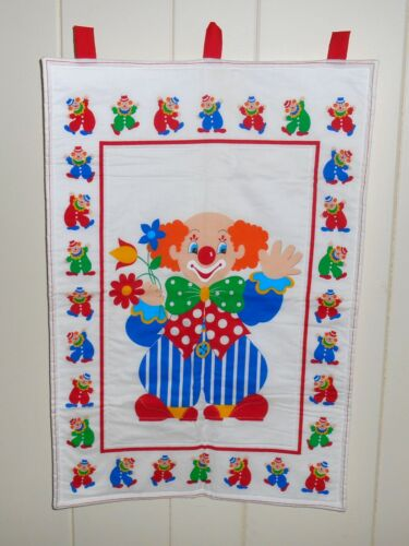 VINTAGE Baby Nursery Play Room Decor Wall Hanging Banner Carnival Clown 1980s