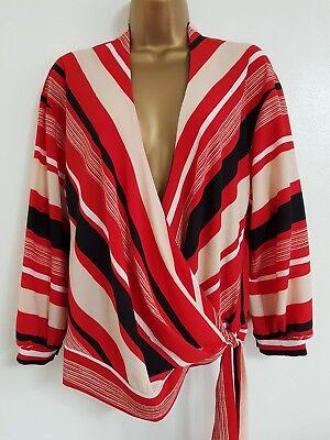 Crepe Wrap Shirt (NEW Debenhams 6-10 RRP£34.00 Red Black Beige Striped Crepe Wrap Top Shirt Blouse)