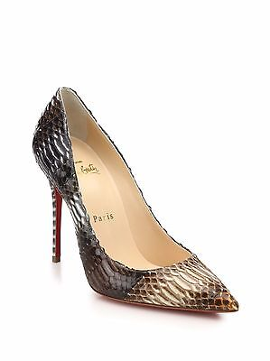 100% AUTH NEW WOMEN LOUBOUTIN DECOLLETE 554 100 SNAKE EMBOSSED PUMPS/HEELS US 9