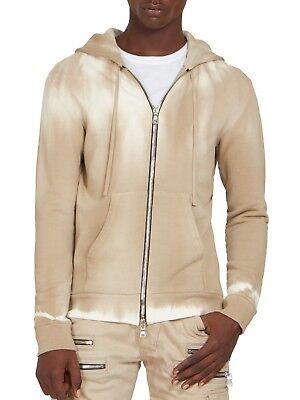 Balmain Men's Natural Hooded Zip-up Tie Dyed Cotton Sweatshirt, L