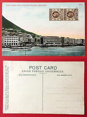 AK China HONG KONG mit Briefmarkenpaar Praya Central     ( 11226